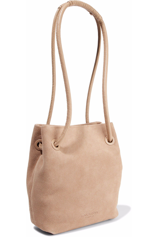 Halston Woman Alism Suede Bucket Bag Blush - Lyst 3eb8f281bc07e