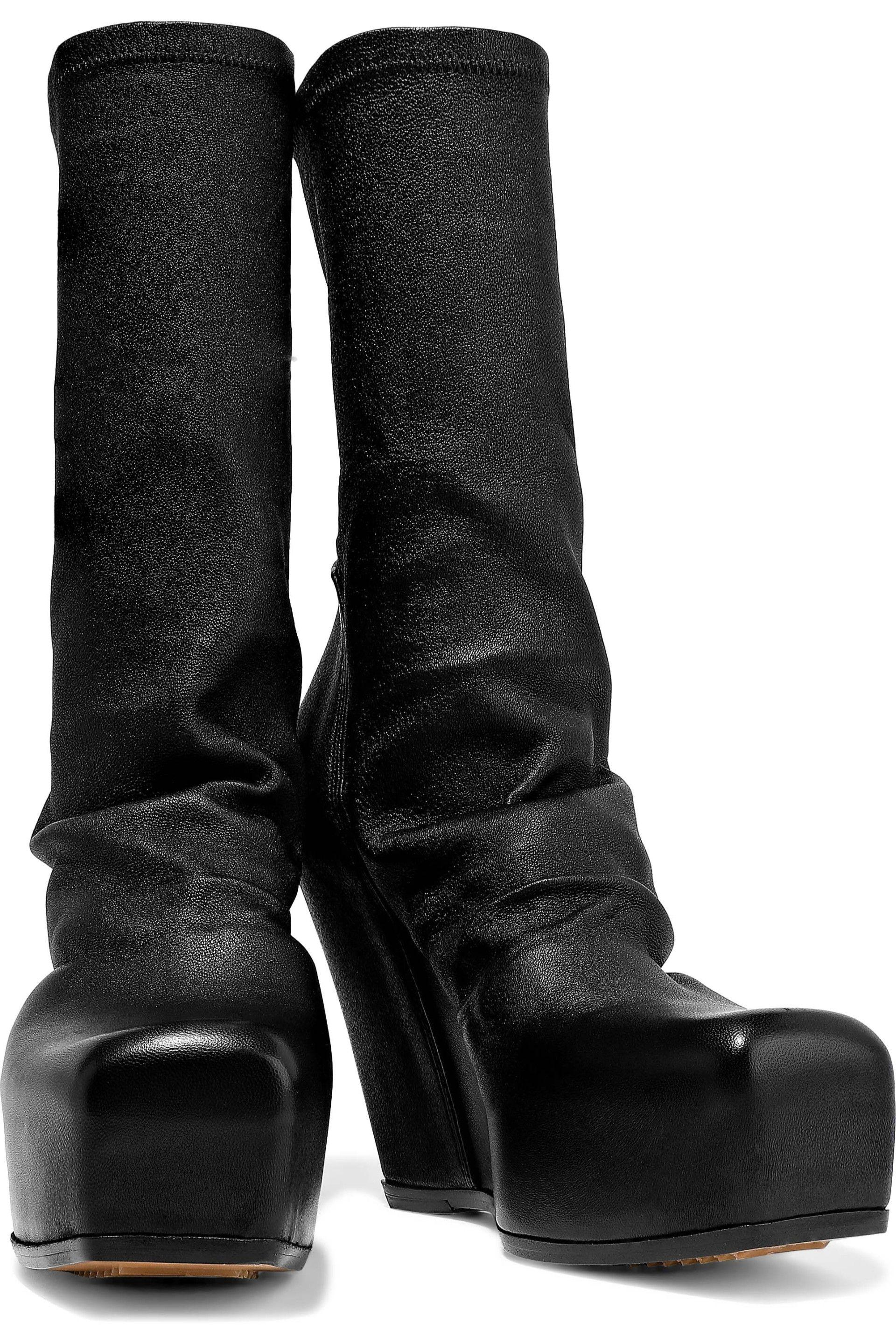 227125e3a10a Rick Owens - Woman Stretch-leather Platform Sock Boots Black - Lyst. View  fullscreen