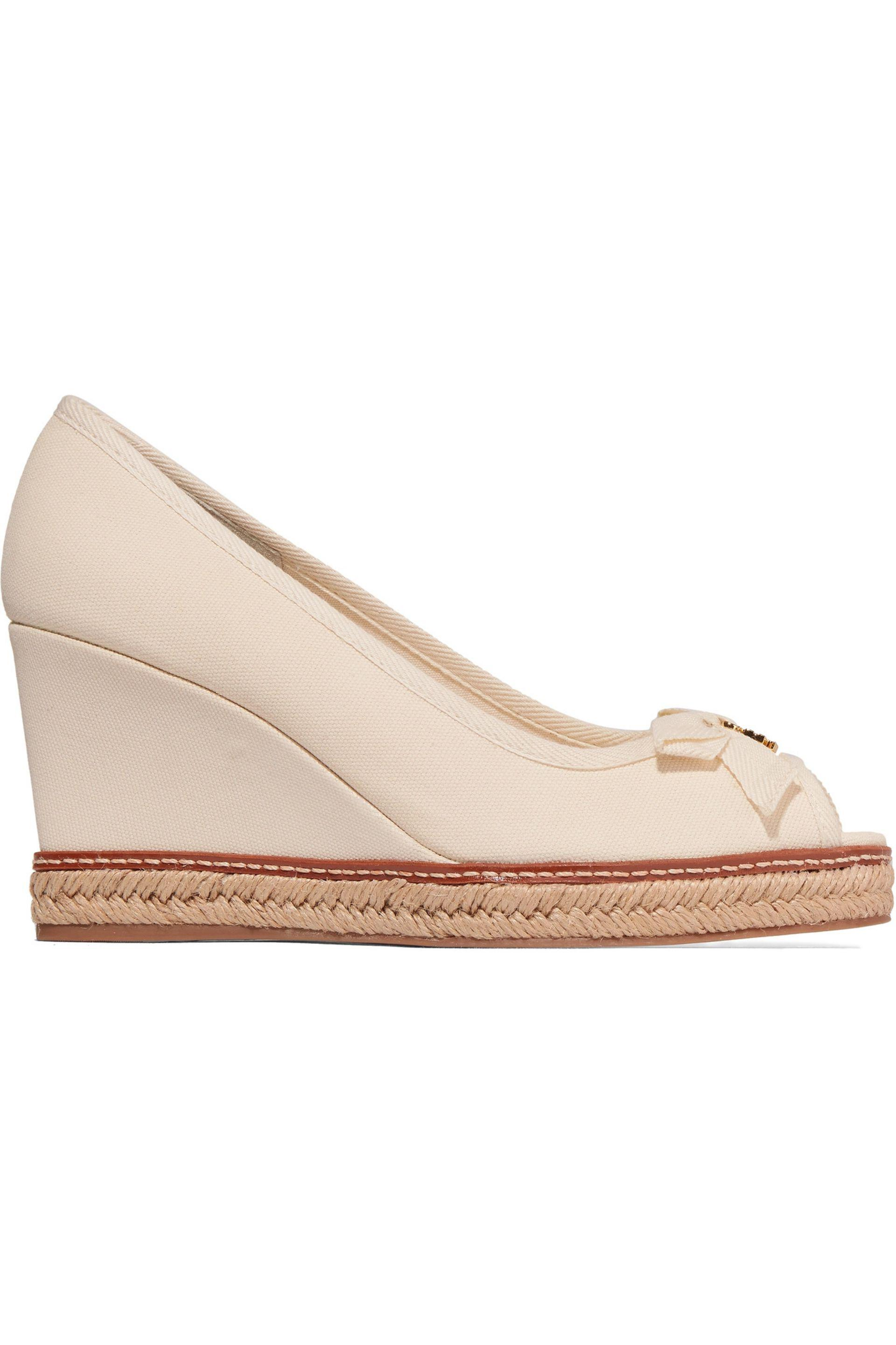 bd758297c8d Tory Burch Jackie Canvas Wedge Sandals in White - Lyst