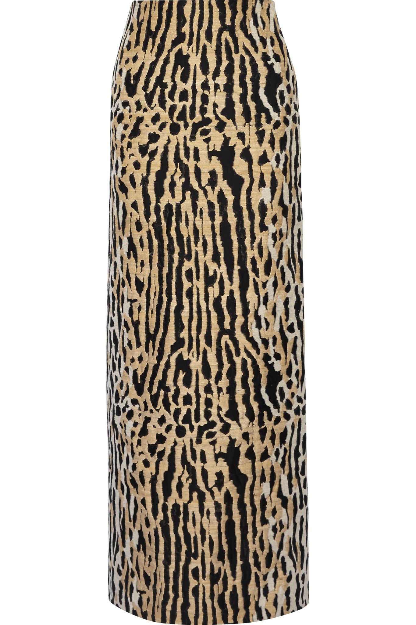 valentino leopard jacquard maxi skirt lyst