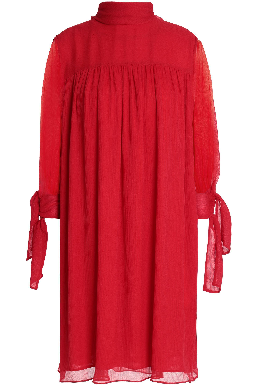c75f7774ddd182 Lyst - Alexander McQueen Woman Gathered Silk-georgette Dress Red in Red