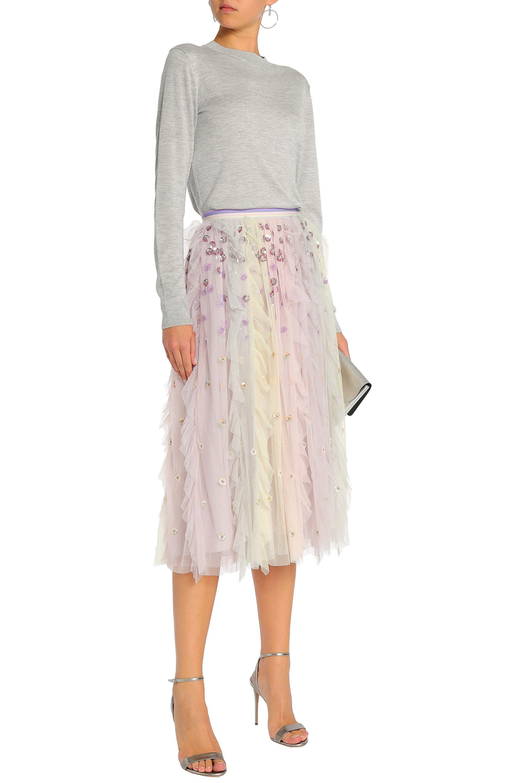 5486b529e Needle & Thread - Purple Woman Rainbow Embellished Ruffled Tulle Midi Skirt  Lilac - Lyst. View fullscreen