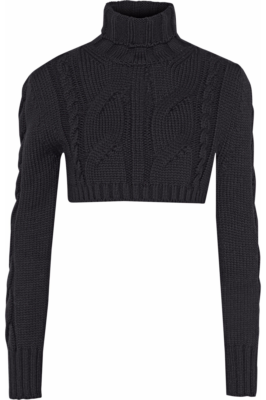 Lyst - Balmain Cropped Cable-knit Merino Wool Turtleneck Sweater in ... f36b5edbf