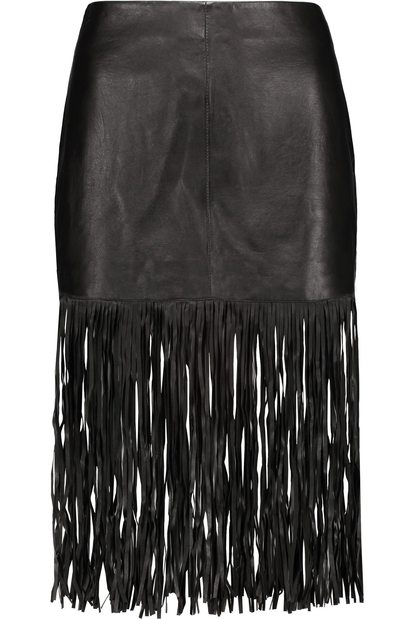 maje fringed leather skirt in black lyst