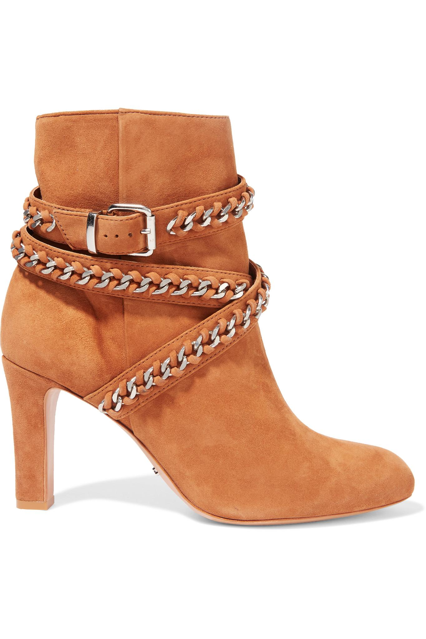 Schutz Chain Embellished Suede Ankle Boots In Brown Lyst
