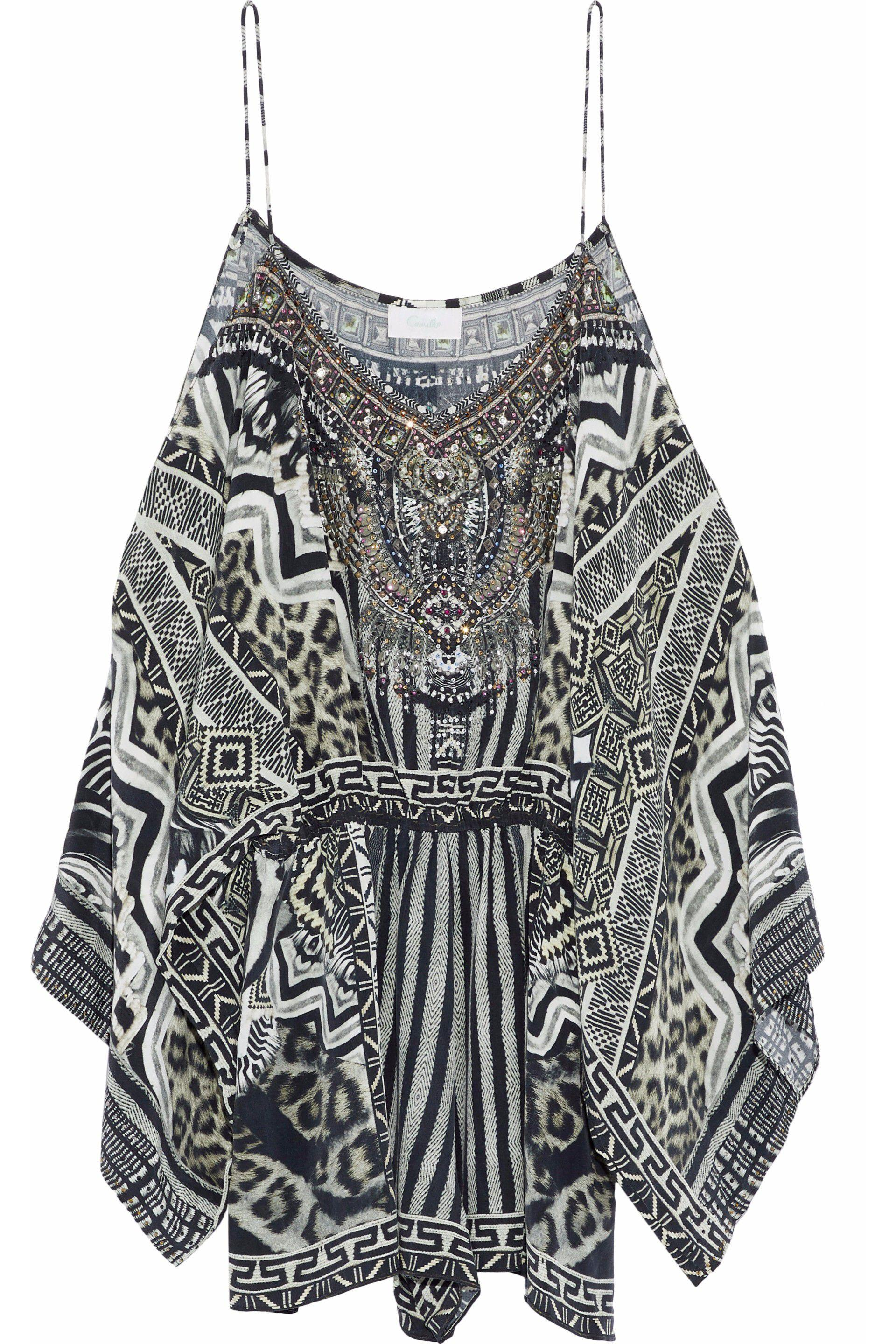 95d2ddc2fd Camilla. Women s Woman Close To My Heart Cold-shoulder Embellished Printed  Silk Playsuit Black