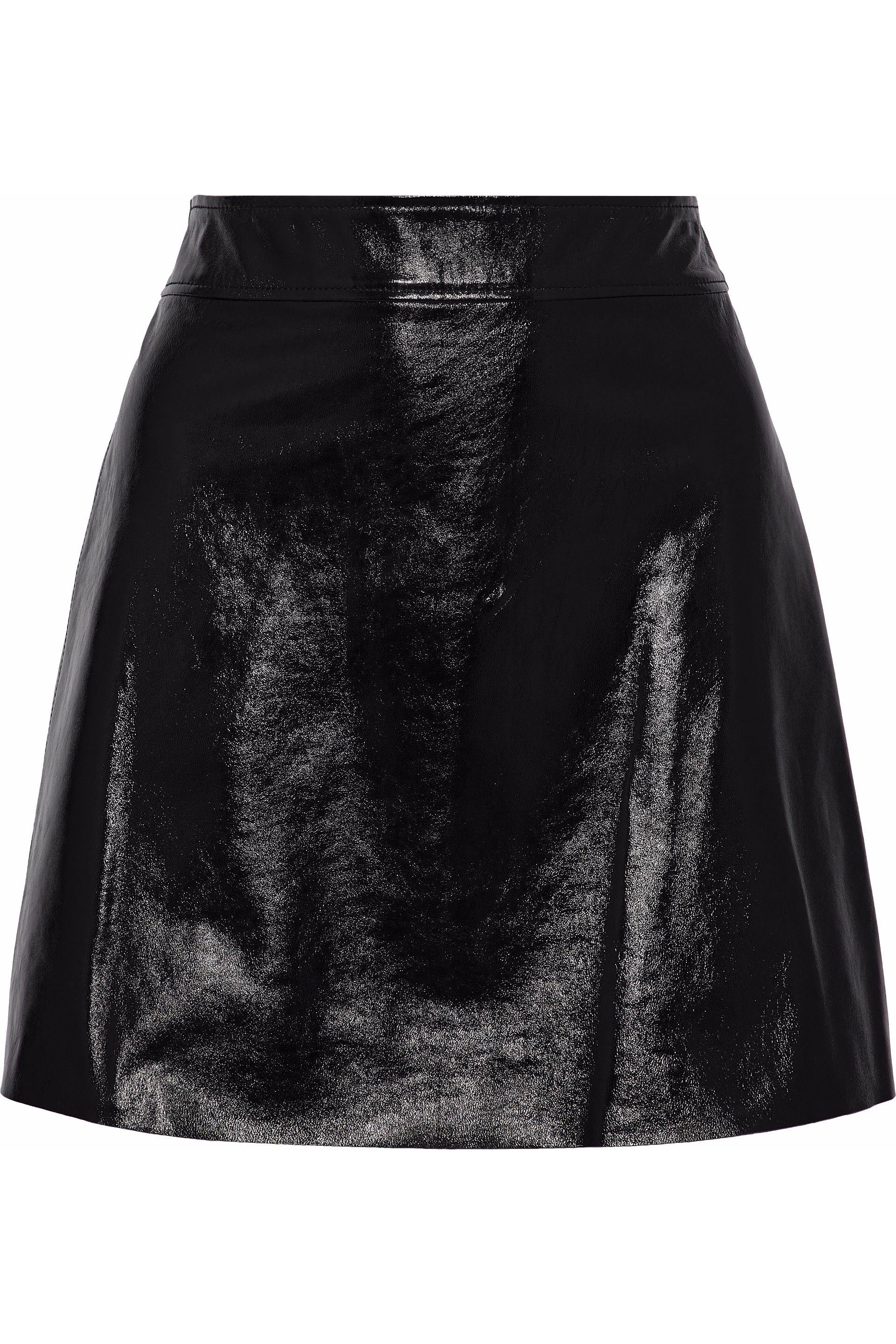 2c917620d8 Theory Woman Crinkled Patent-leather Mini Skirt Black in Black - Lyst