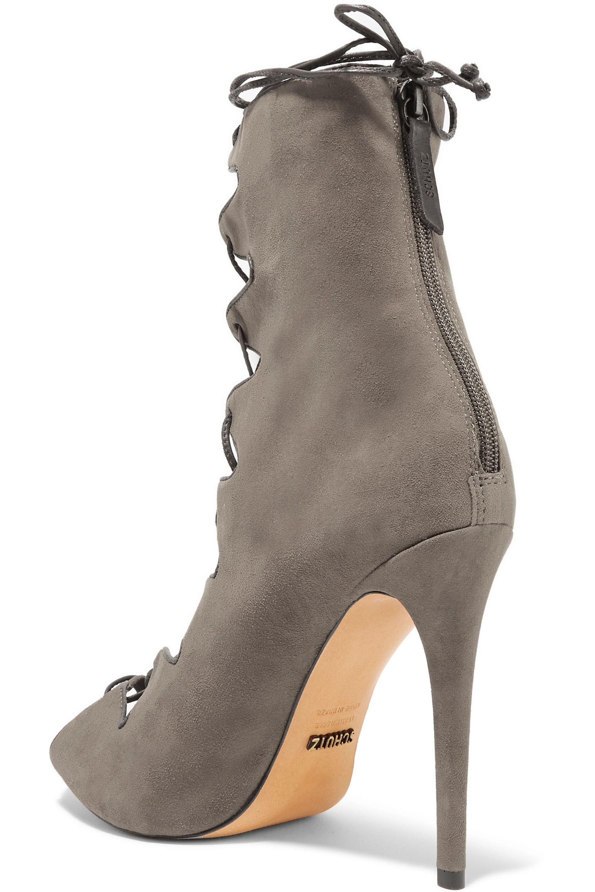 Schutz | Gray Leather-trimmed Suede Lace-up Sandals | Lyst. View Fullscreen