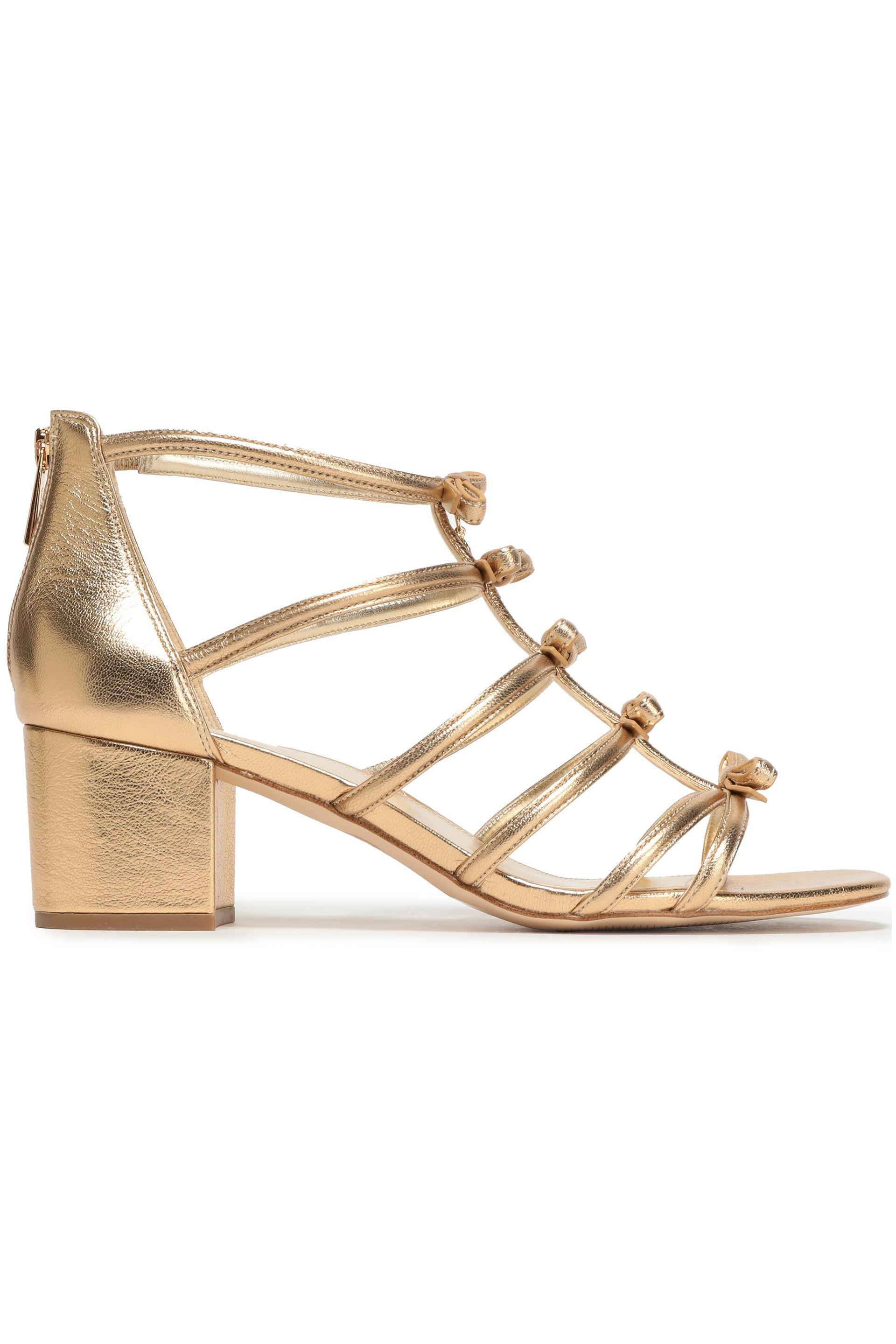 ccce39003cc MICHAEL Michael Kors. Women s Woman Bow-embellished Metallic Leather Sandals  Gold