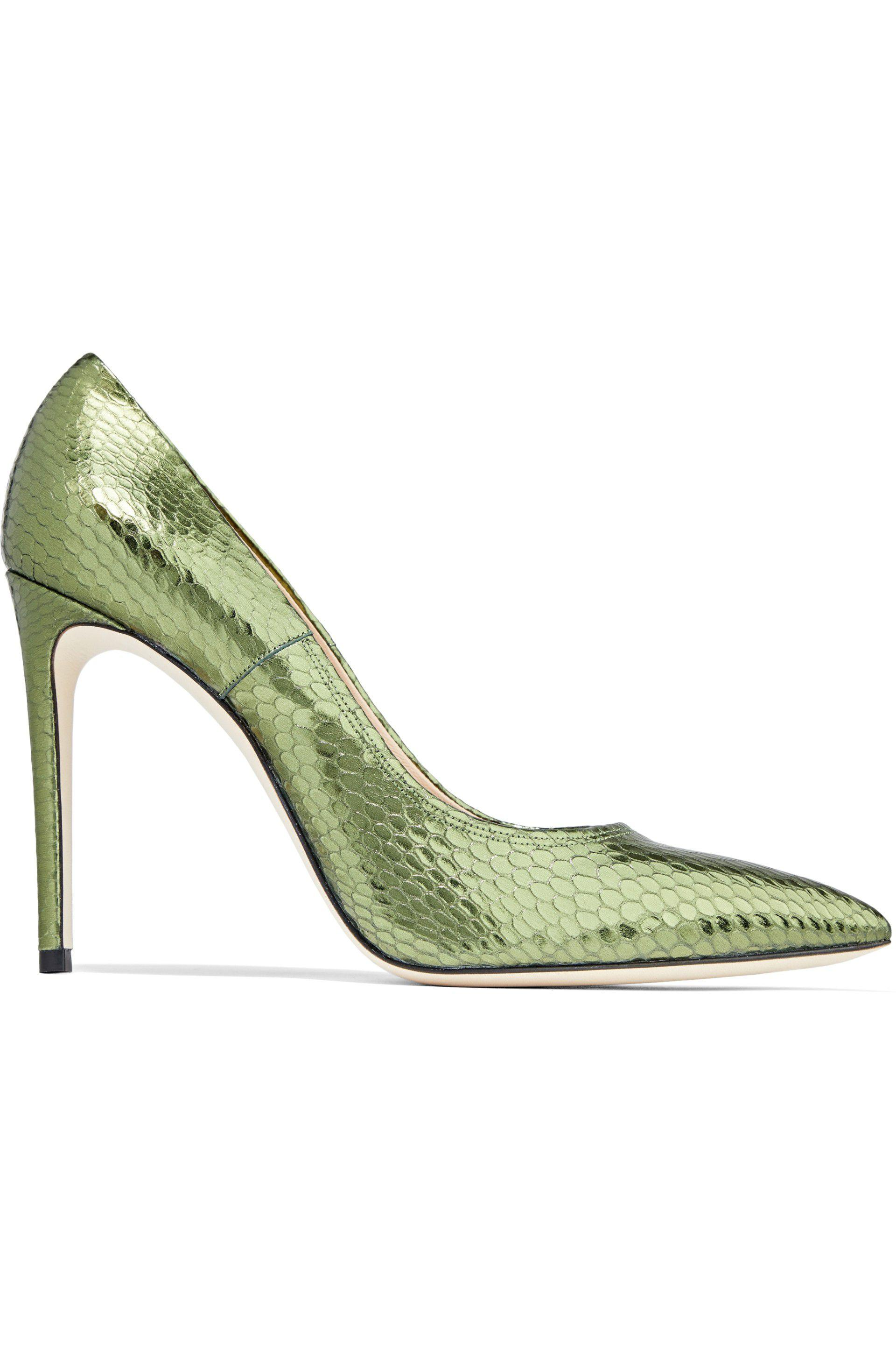 Casadei Woman Chain-embellished Fringed Metallic Leather Pumps Bright Green Size 35 Casadei gkyUIC5v