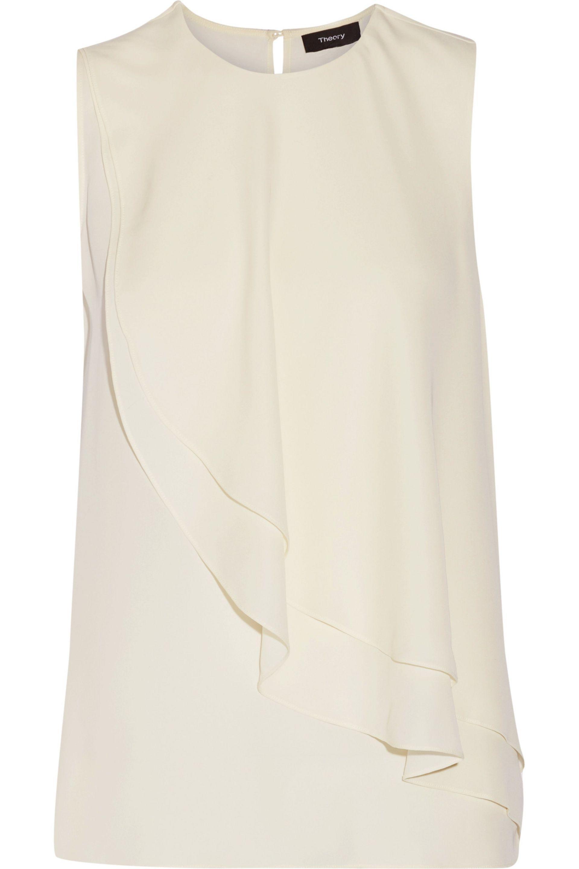 a63a8295dd54e Lyst - Theory Ruffled Silk-georgette Top in White
