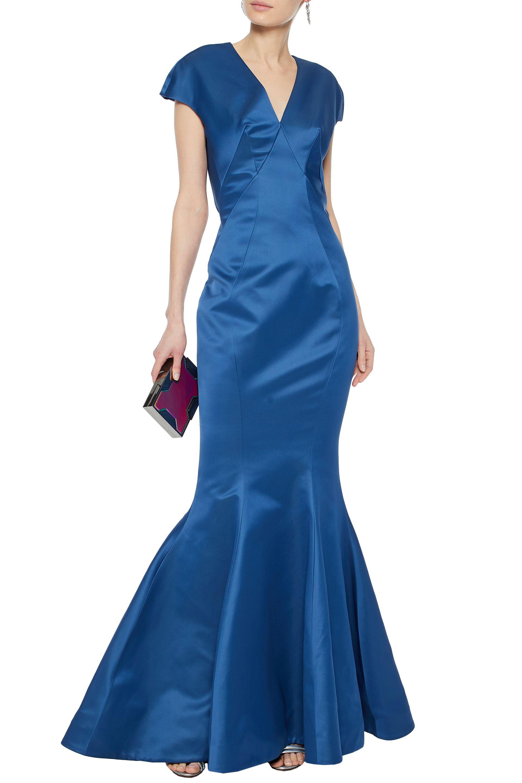 Zac Posen Woman Fluted Cutout Satin Gown Cobalt Blue Size 12 Zac Posen 9Ztzengl