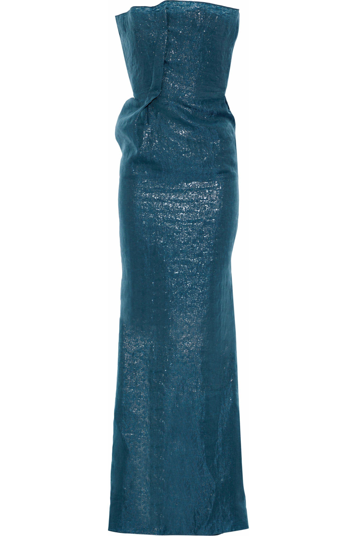 01fcf9b00e477 Roland Mouret. Women's Blue Woman Henderson Strapless Metallic Organza Gown  Petrol