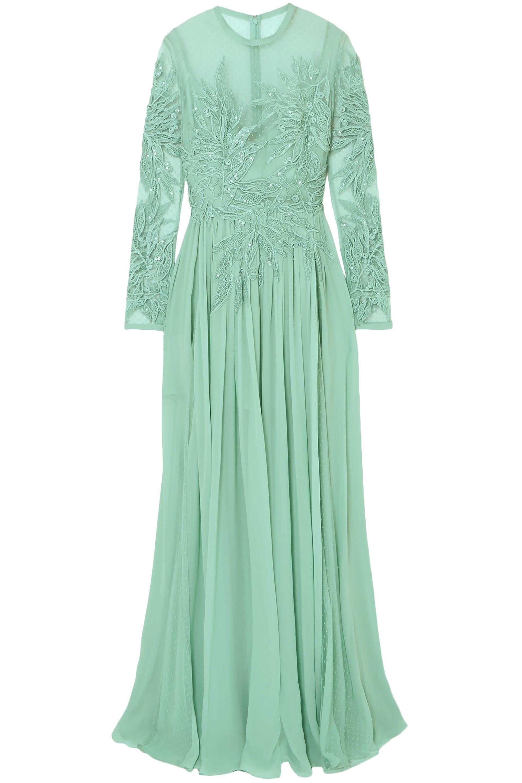 f2cd9dc0297 Elie Saab. Women s Green Woman Embellished Silk-blend Swiss-dot Tulle