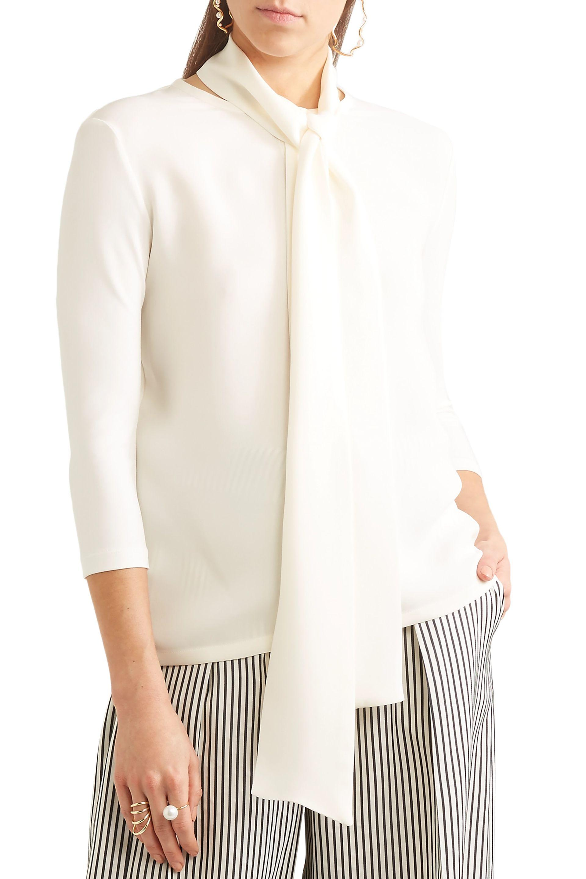 b4526aba395bc Lyst - Max Mara Woman Pussy-bow Stretch-knit And Silk-crepe Blouse ...