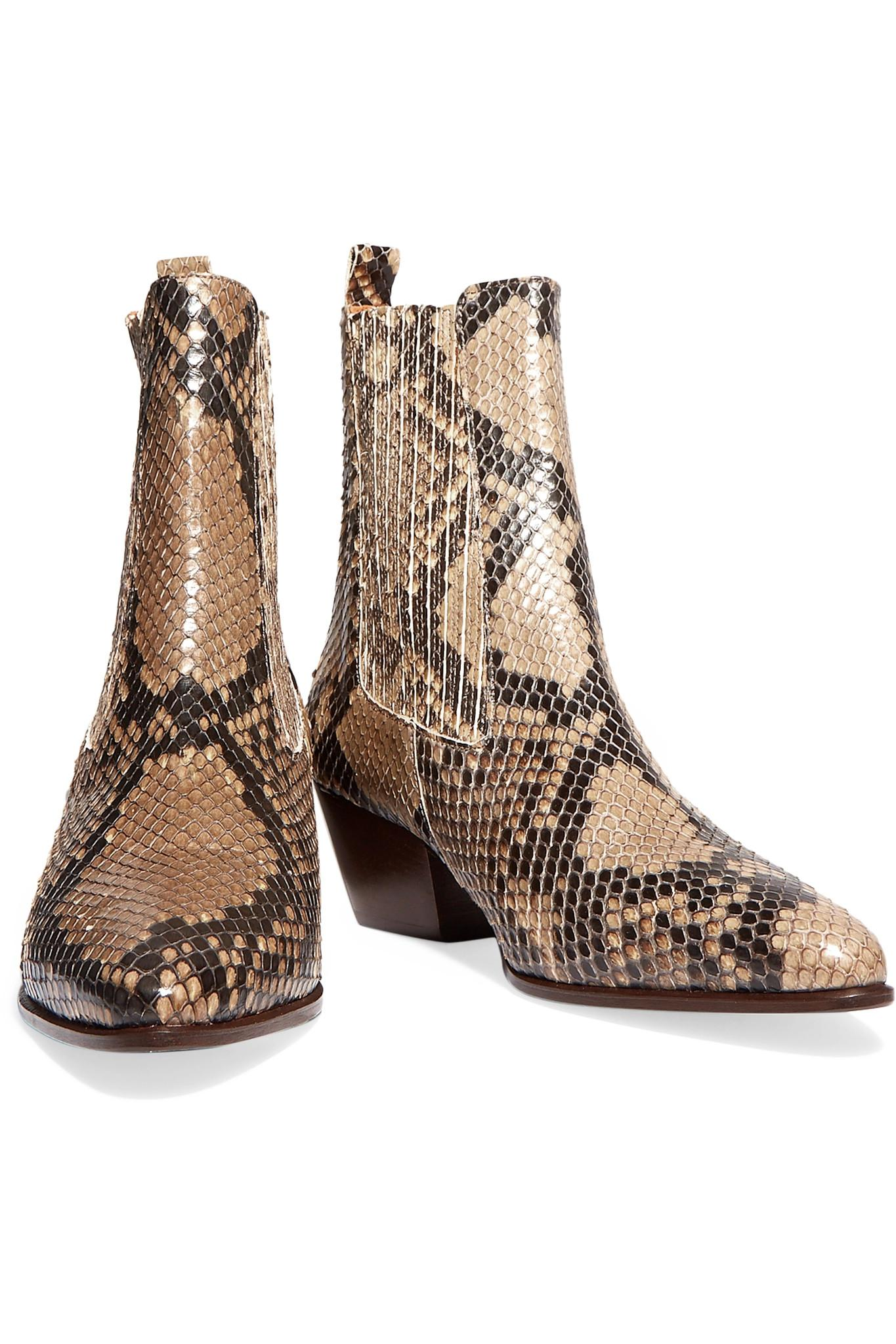 Sandro Anouck Snake Print Leather Ankle Boots In Brown Lyst