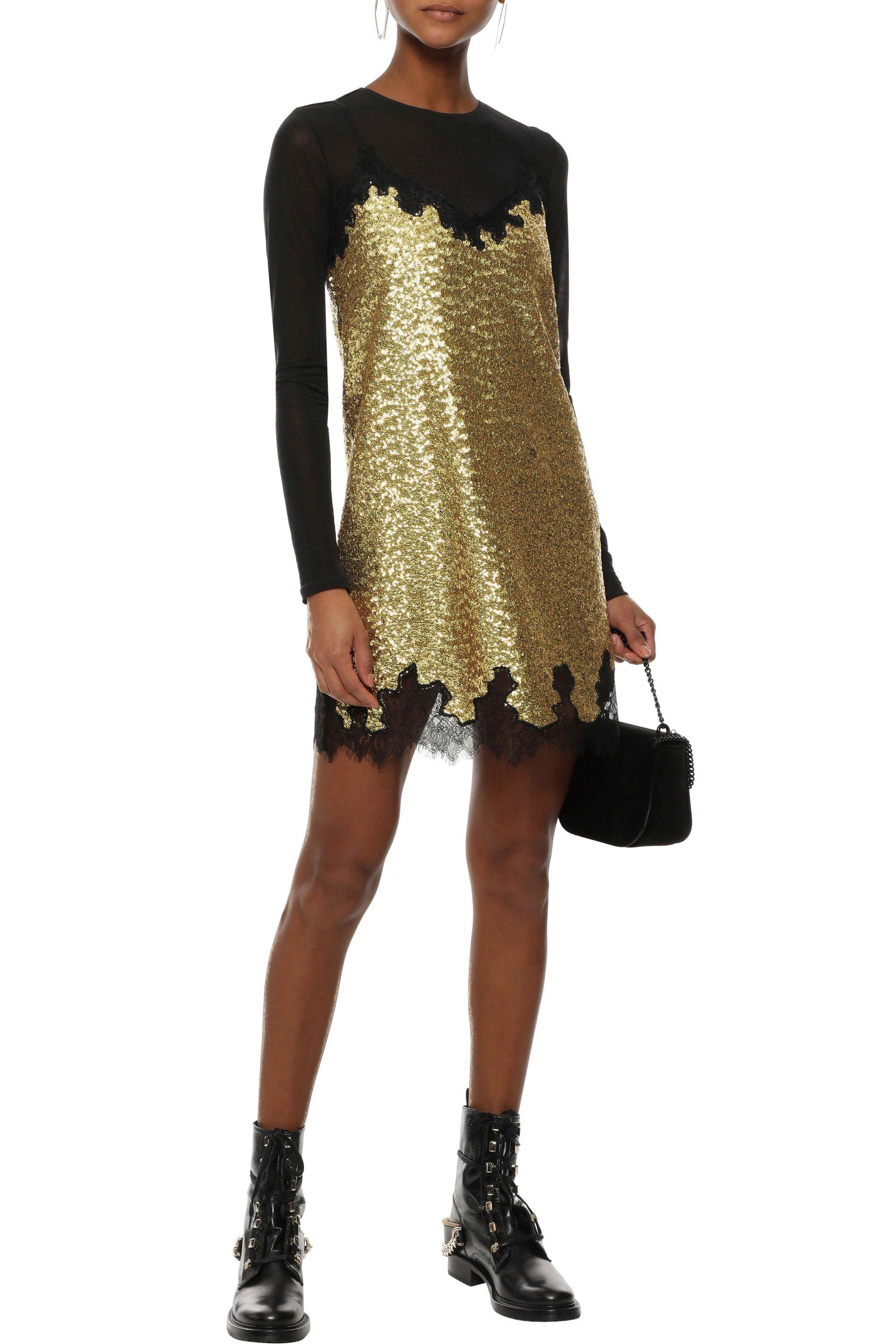 48b21555 ... Lace-trimmed Sequined Chantilly Lace Mini Slip Dress Gold -. View  fullscreen