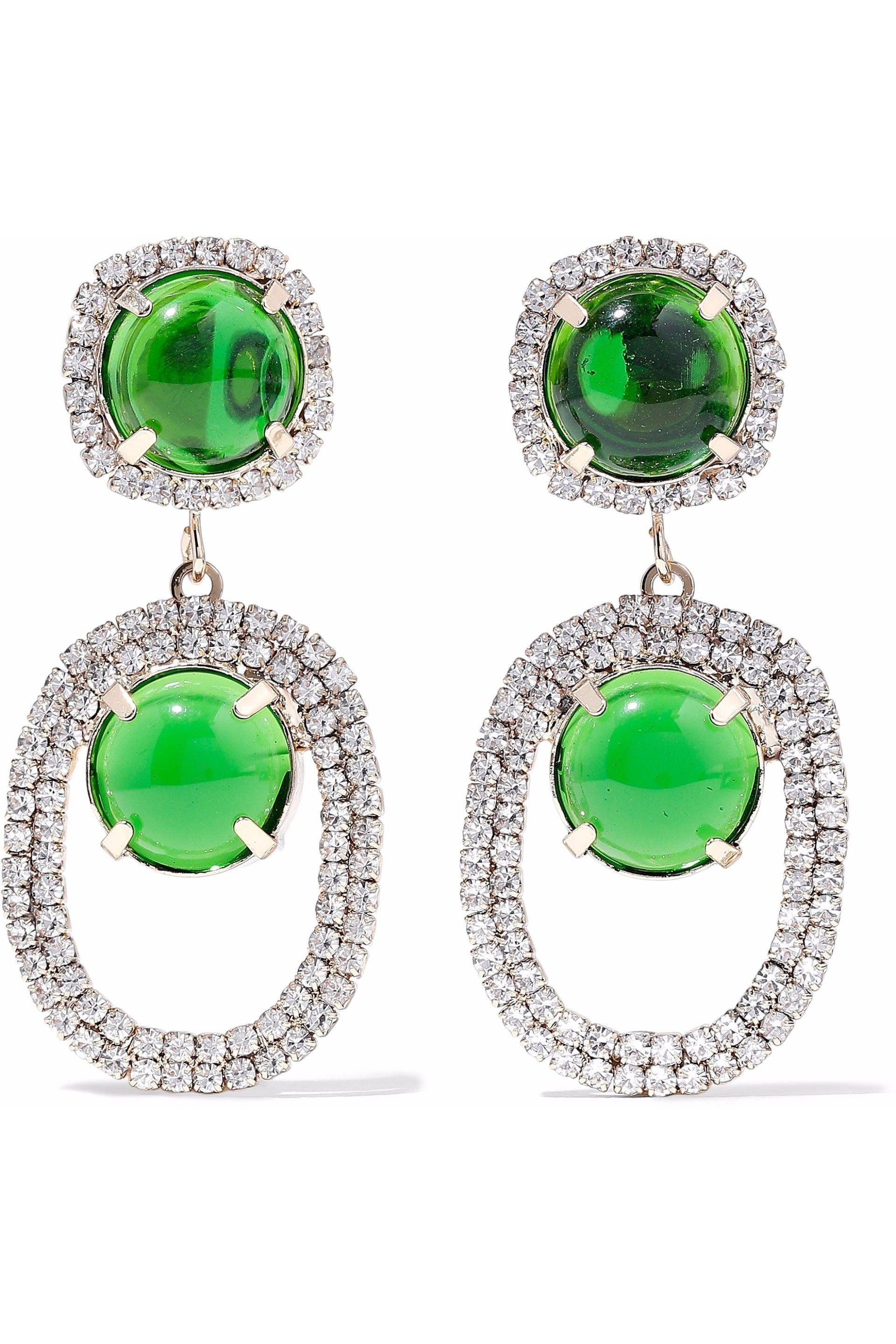 Kenneth Jay Lane Kenneth Jay Lane Woman Gold-tone Stone And Crystal Clip Earrings Emerald Size IYThbuR