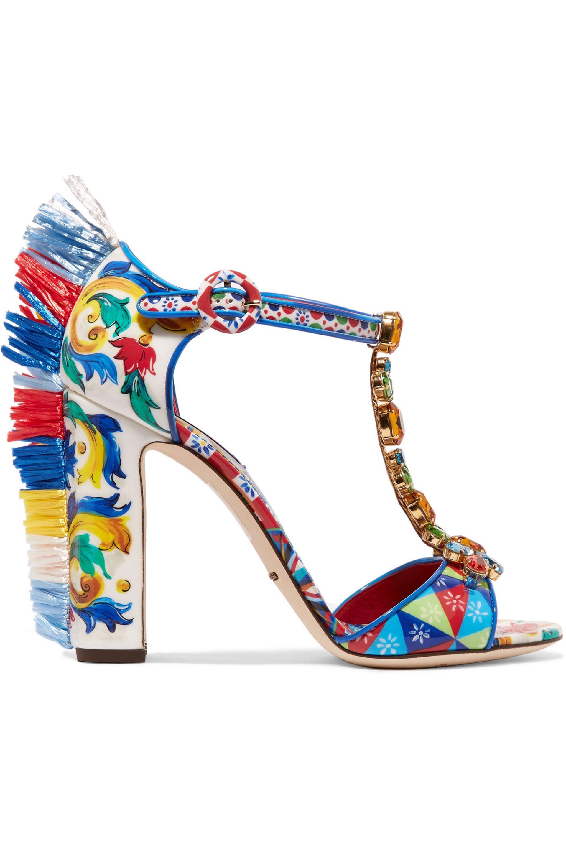 b9ca05874 Dolce & Gabbana Bianca Raffia-trimmed Embellished Printed Patent ...