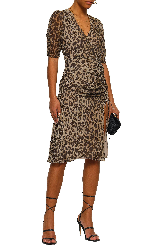0708ed1010d1 Nicholas Woman Wrap-effect Ruched Leopard-print Silk-georgette Dress ...