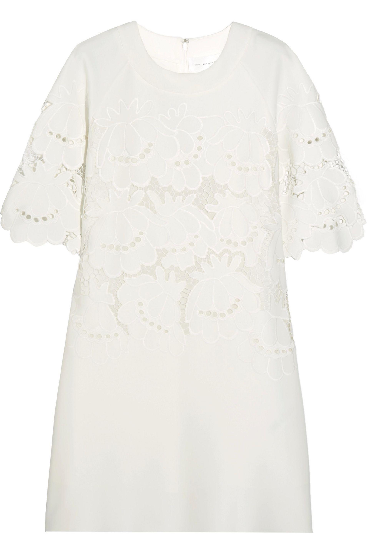 Victoria, Victoria Beckham Woman Broderie Anglaise Stretch-cady Mini Dress Ivory Size 8 Victoria Beckham