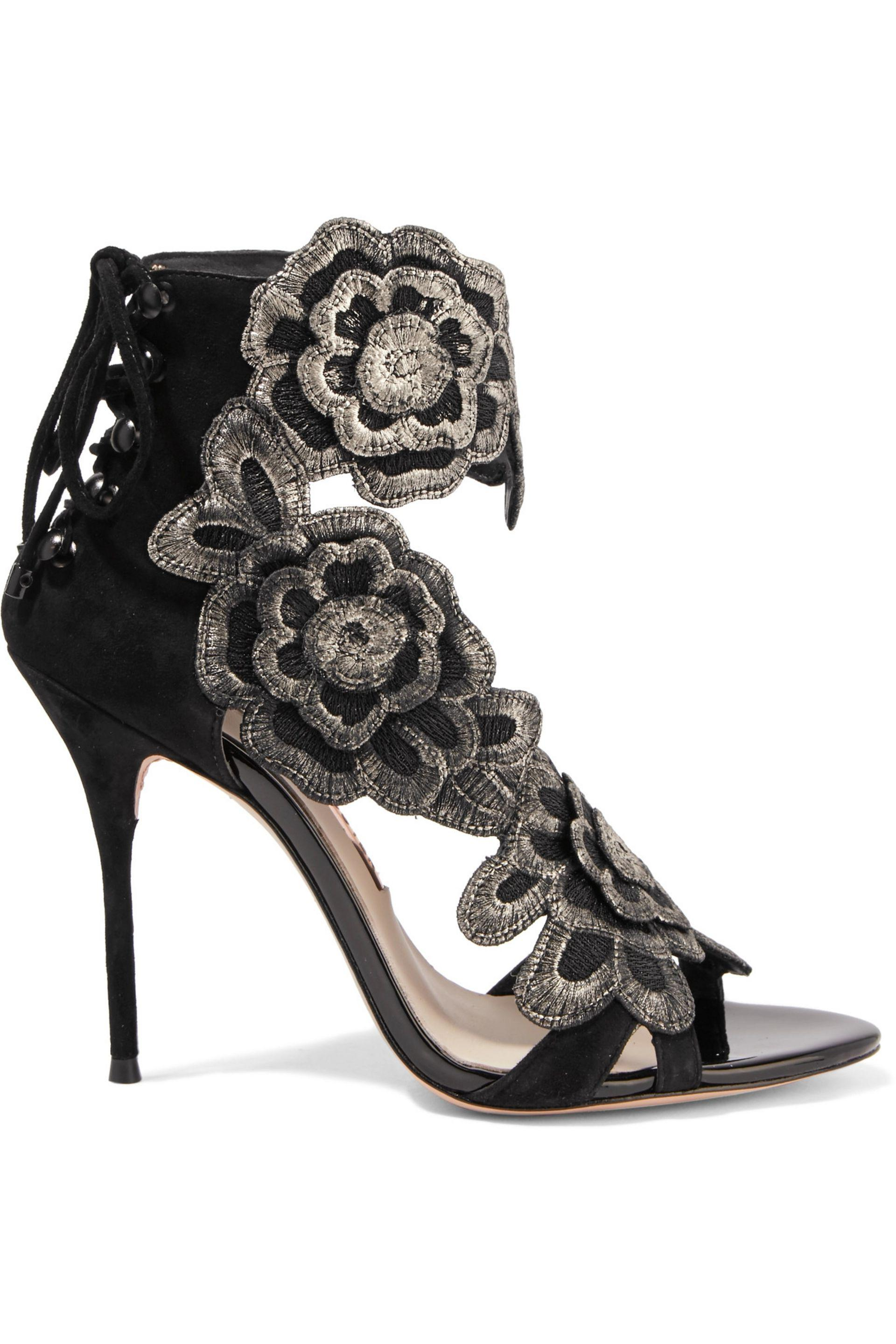 Sophia Webster. Women's Black Winona Embroidered Suede Sandals