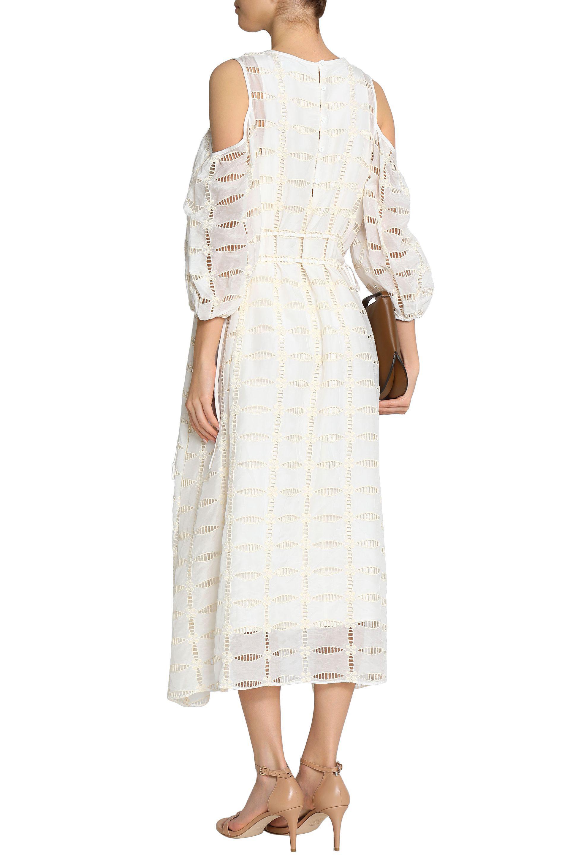 Tibi Woman Luca Cold-shoulder Cutout Embroidered Cotton And Silk-blend Midi Dress Blue Size 4 Tibi JolHUu9mbX