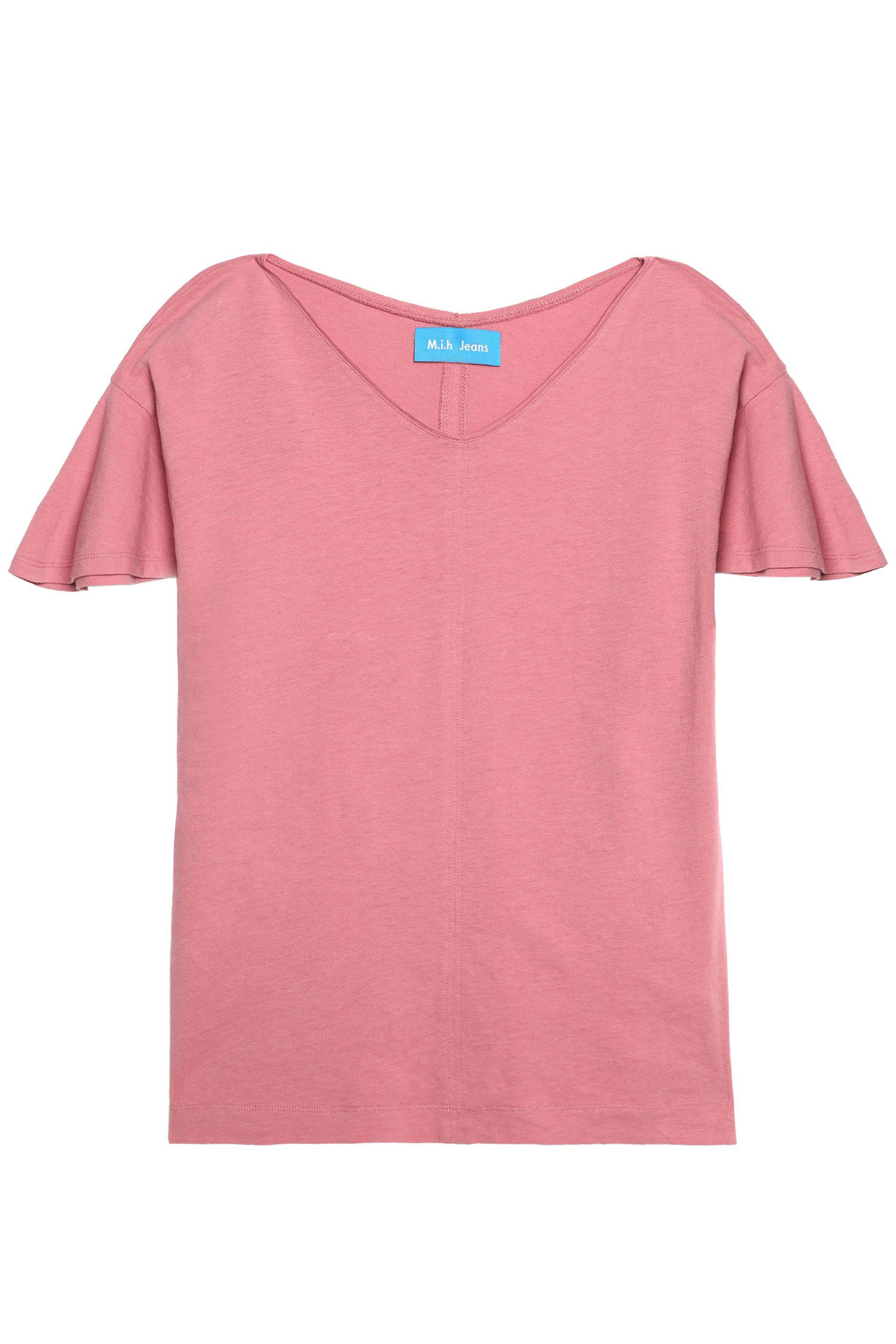 M.i.h Jeans Woman Veevee Cotton And Linen-blend Jersey T-shirt Pink Size L Mih Jeans