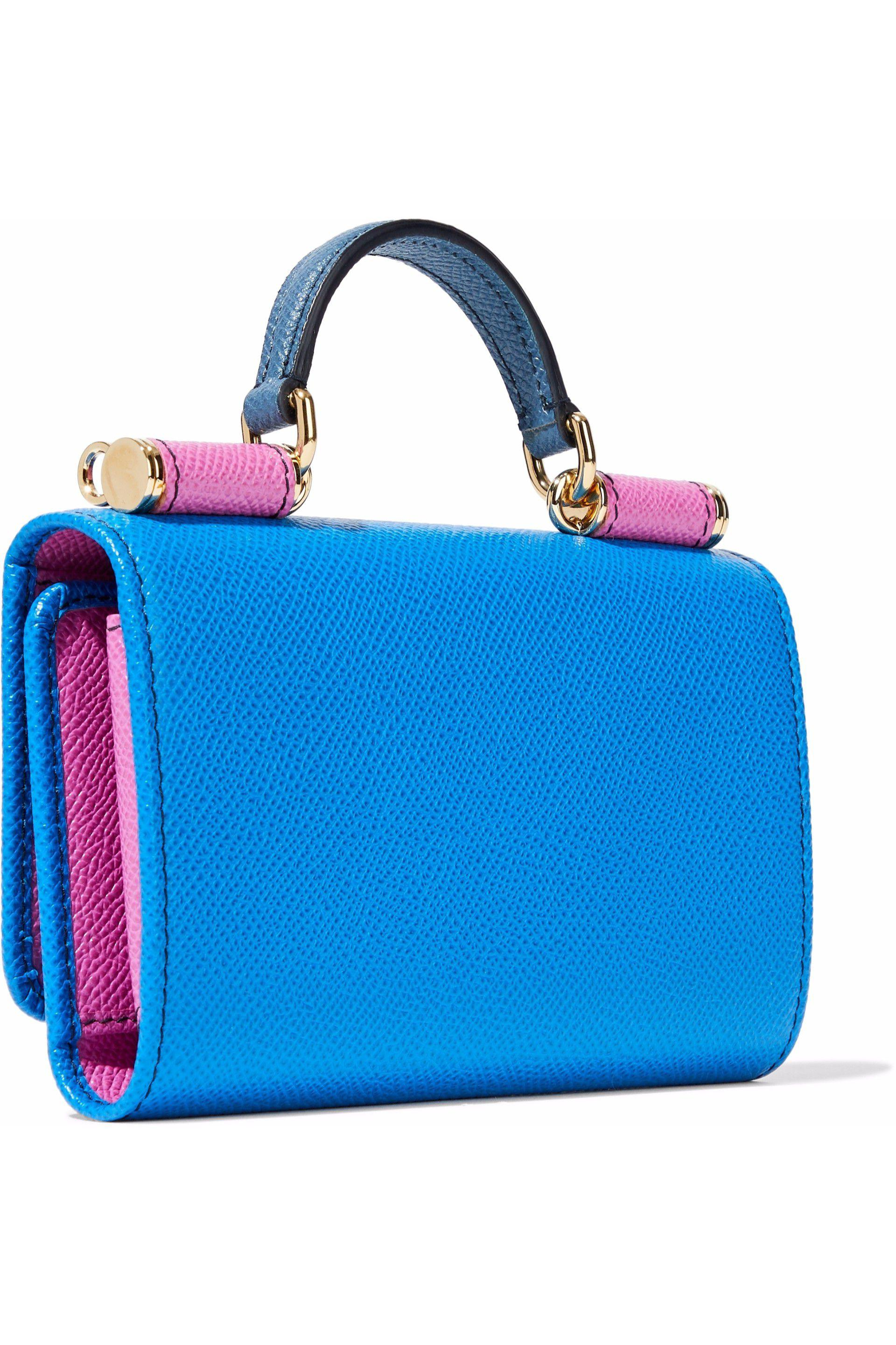 30e50854f7 Dolce & Gabbana Von Color-block Textured-leather Phone Case in Blue ...