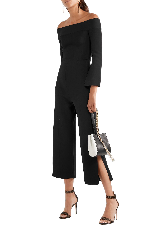 3cbc546cda8 Roland Mouret - Woman Felbridge Off-the-shoulder Ponte Jumpsuit Black -  Lyst. View fullscreen