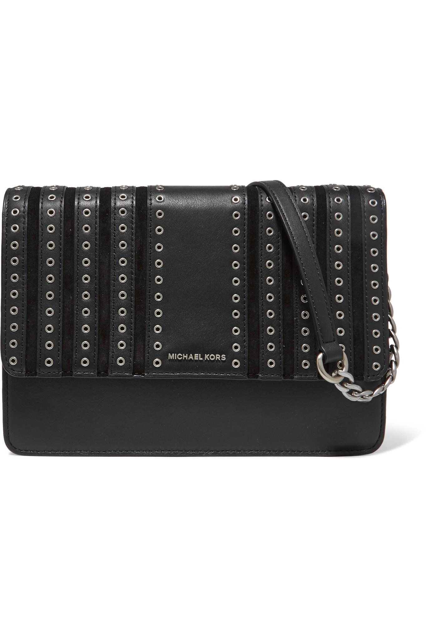 5442d6974ada4d Michael Kors Brooklyn Large Leather Shoulder Bag Black | Dr.Paul