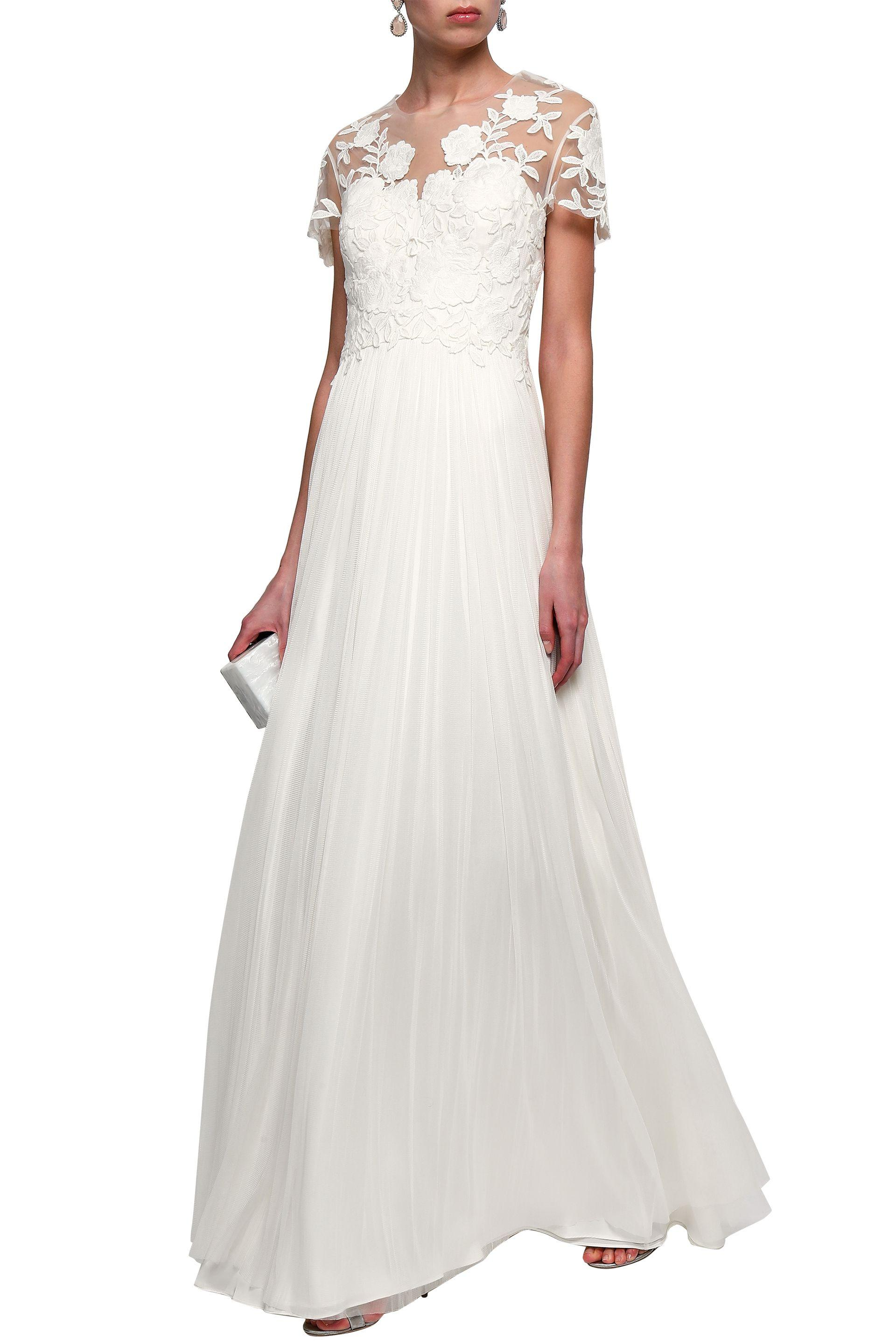 e786c1b173d Catherine Deane Open-back Pleated Silk And Guipure Lace Bridal Gown ...
