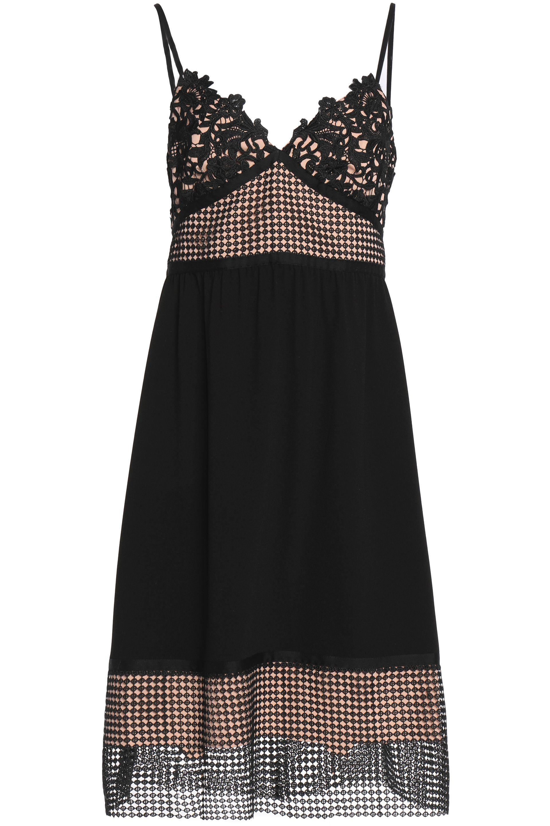 Theory Woman Paneled Guipure Lace, Crochet And Crepe Dress Off-white Size 10 Theory