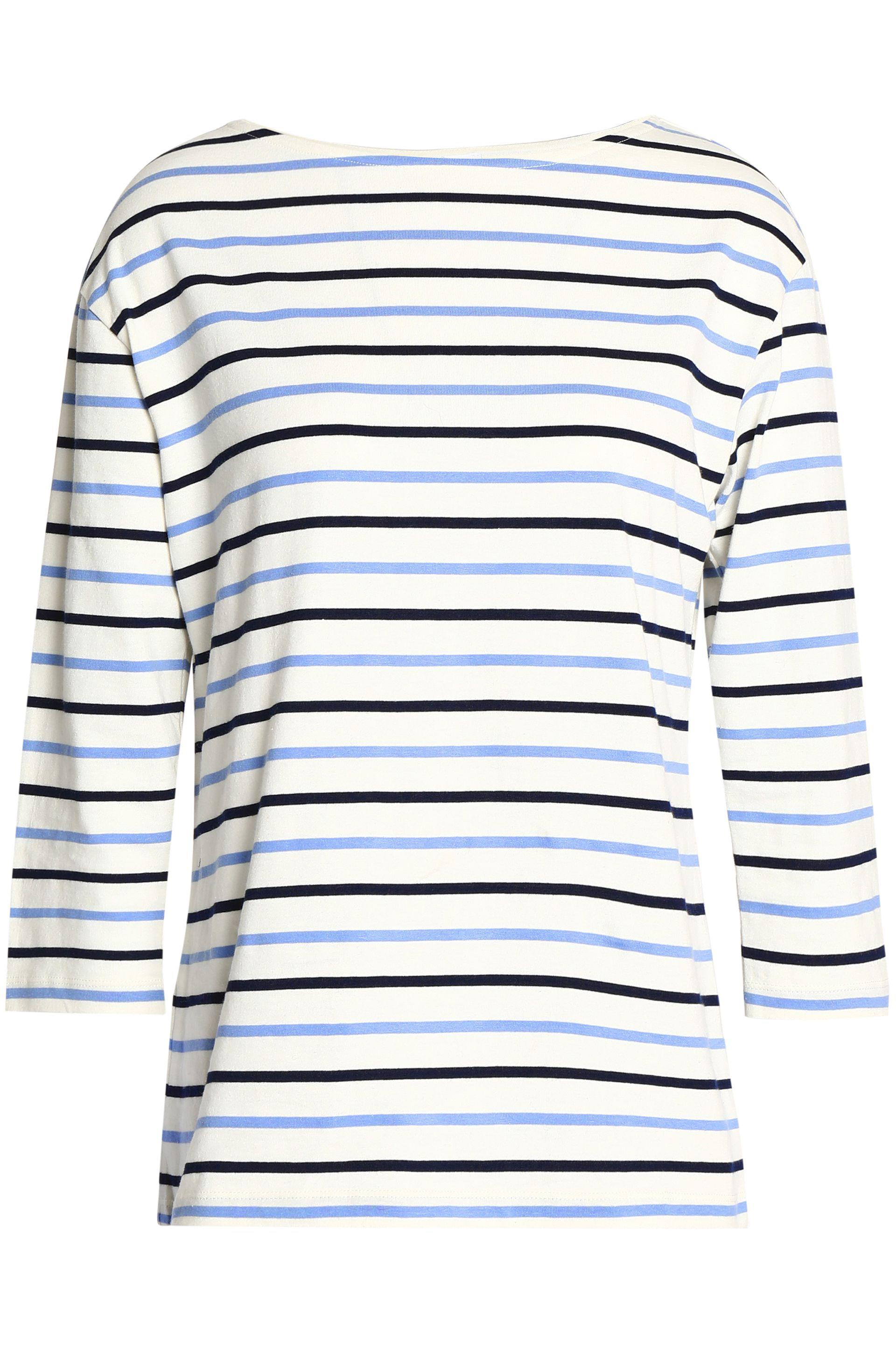 Iris & Ink Woman Sydney Striped Cotton-jersey Top Off-white Size XL IRIS & INK Clearance Latest Collections For Cheap Discount Genuine For Sale Free Shipping Cheap Quality YccVXVgP10