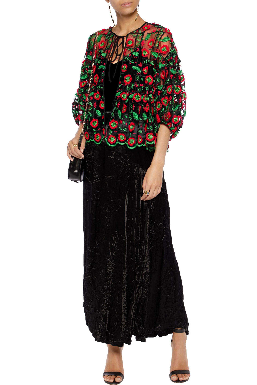 Anna Sui | Black Ruffled Appliquéd Printed Mesh And Chiffon Top | Lyst.  View Fullscreen