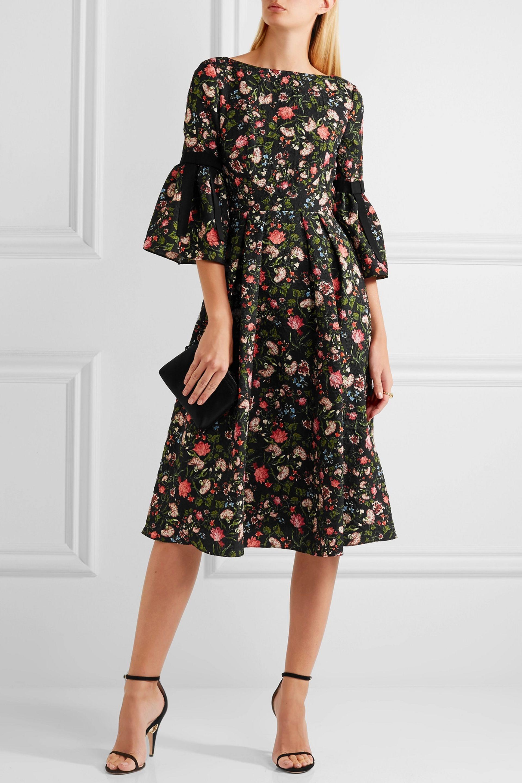 5f147f6e3b59 Erdem Woman Aleena Grosgrain-trimmed Matelassé Dress Black in Black ...