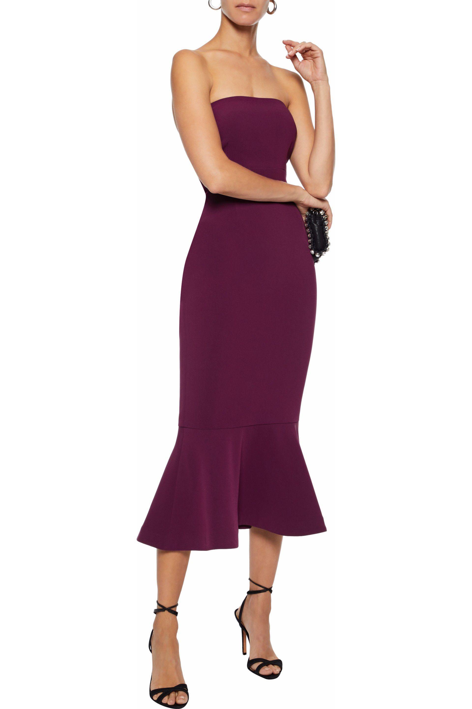 b72051333b4b Cinq À Sept Woman Luna Strapless Fluted Crepe Midi Dress Violet in ...