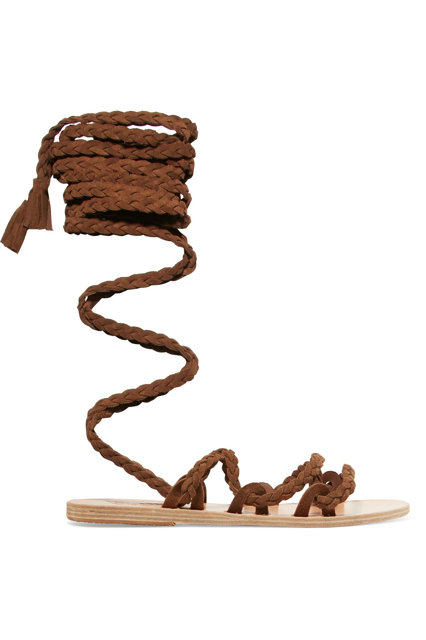 Ancient Greek Sandals. Women's Brown Kariatida Lace-up Braided Suede Sandals