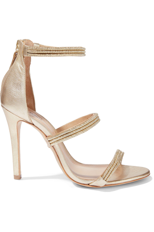 230e083d70cb Lyst - Schutz Woman Dyane Metallic Cord And Leather Sandals Platinum ...