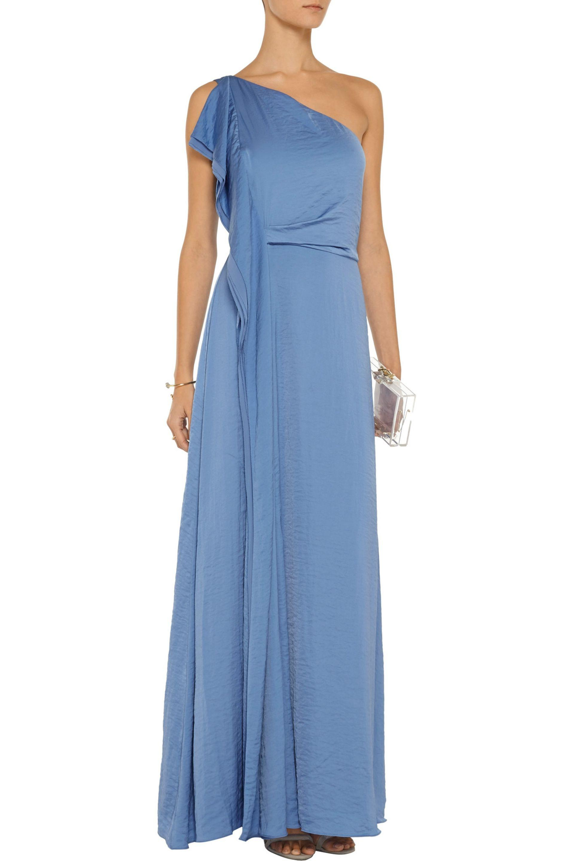 Halston Heritage | One-shoulder Washed-sateen Gown Light Blue Size 6 |  Lyst. View Fullscreen