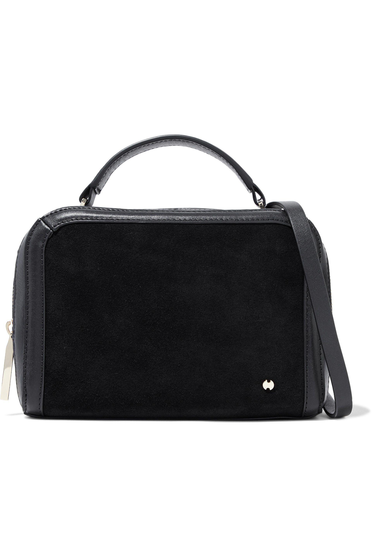 2372de9985bc Halston Heritage Suede-paneled Leather Shoulder Bag in Black - Lyst