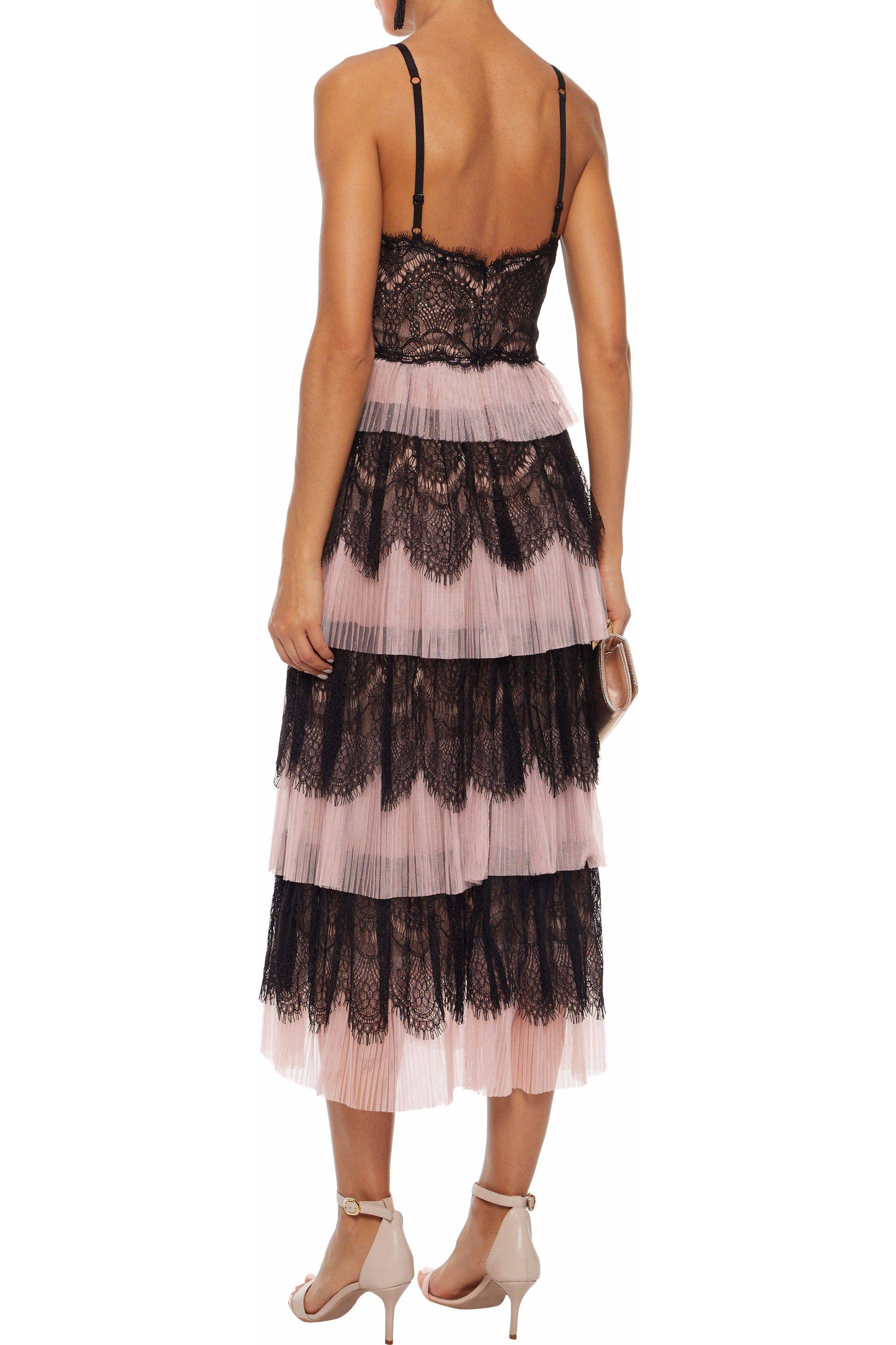 Marchesa Notte Tiered Paneled Lace And Plissé Tulle Midi