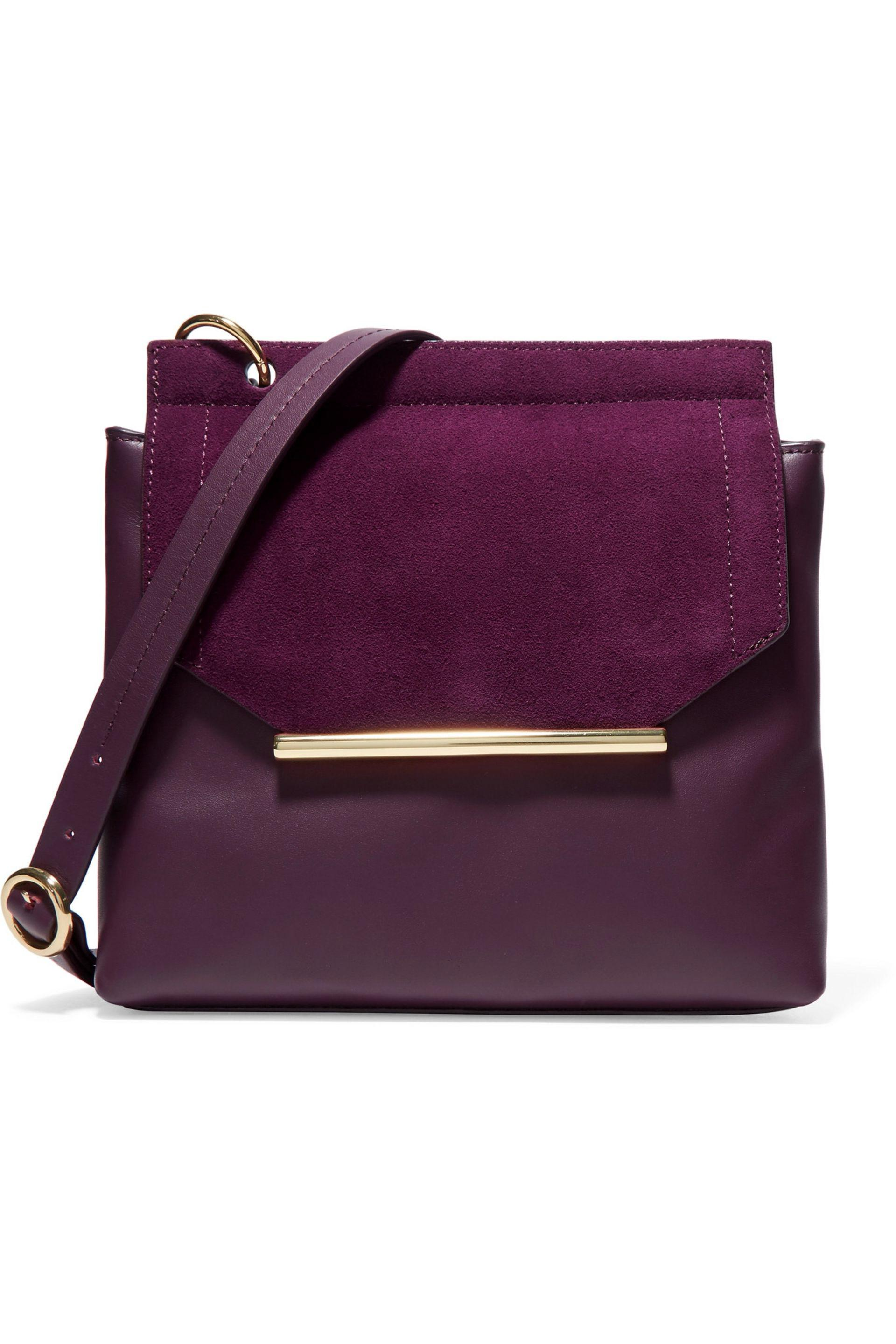 fa5a3bd983c Halston Suede-trimmed Leather Shoulder Bag Dark Purple in Purple - Lyst