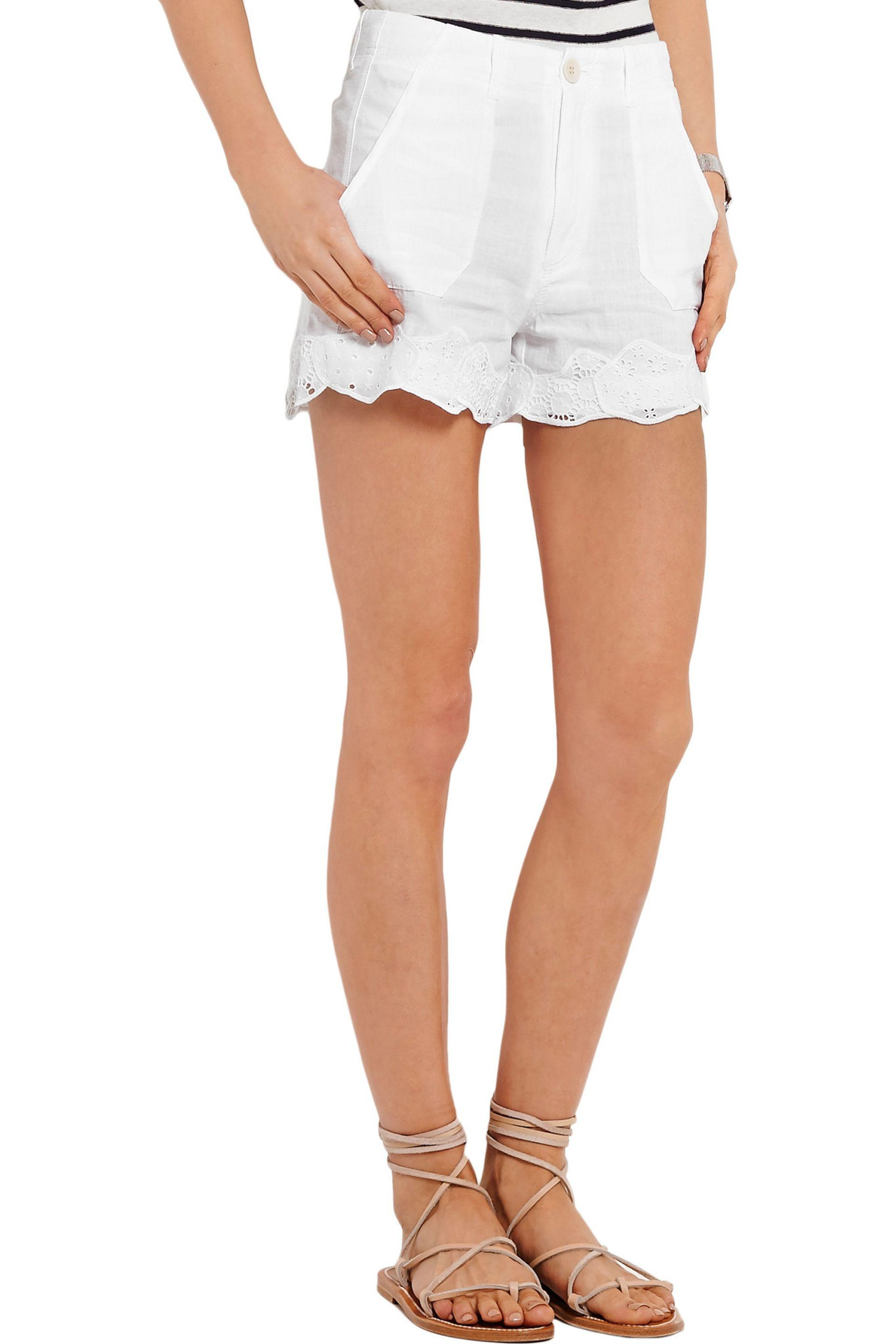 MiH Jeans | White Amas Broderie Anglaise-trimmed Linen And Cotton-blend  Shorts |. View Fullscreen