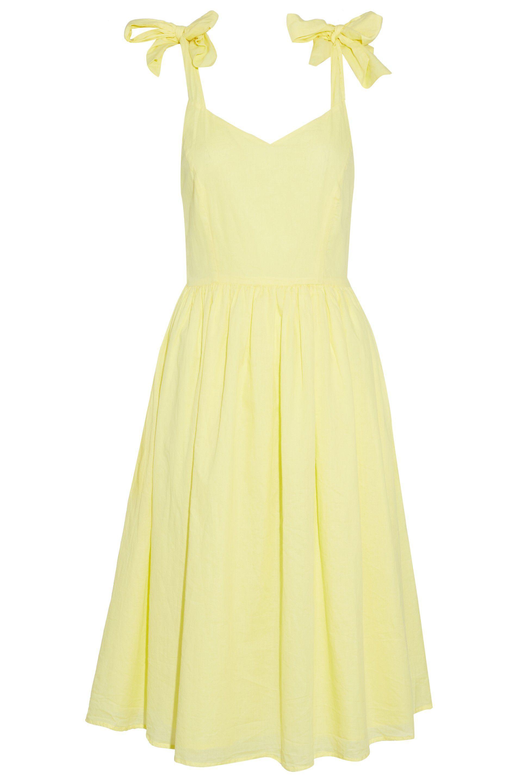 Ink Vestido 4 Tamaño Amarillo con de pliegues algodón volante de Mujer Renny pastel Iris dCFqTd