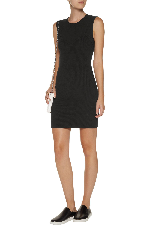 A.l.c. Woman Aviana Layer-effect Stretch And Ribbed-knit Mini Dress Black Size L A.L.C. lXAUihC