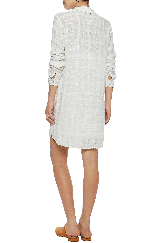 Visa Payment Discount Visa Payment Splendid Woman Lace-up Textured-gauze Mini Dress Off-white Size L Splendid Cheap Sale New Arrival Sale Outlet 2018 Sale Online 0XGDub