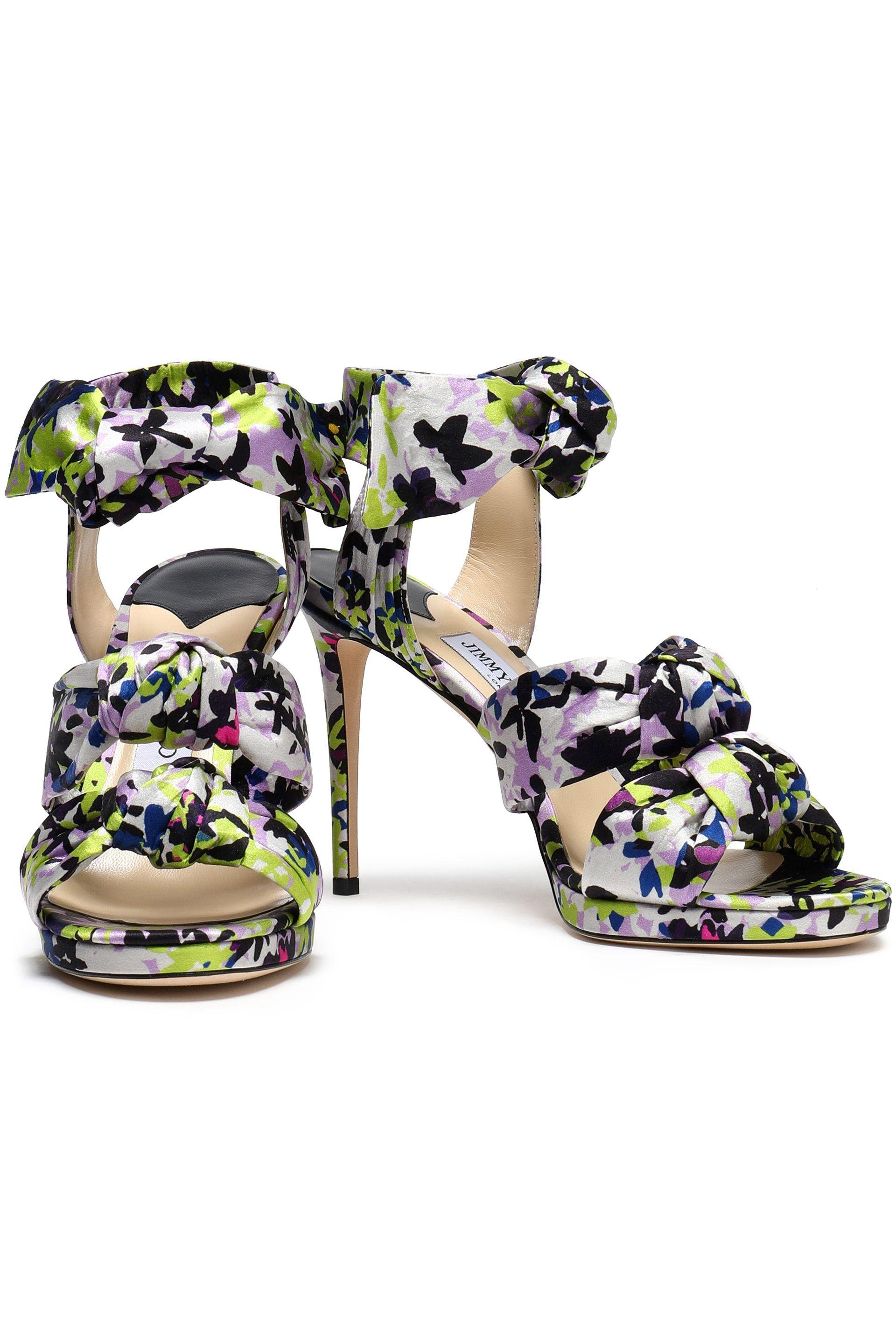 c95118687ee2ac Jimmy Choo Kris Knotted Printed Satin Sandals Lime Green in Green - Lyst
