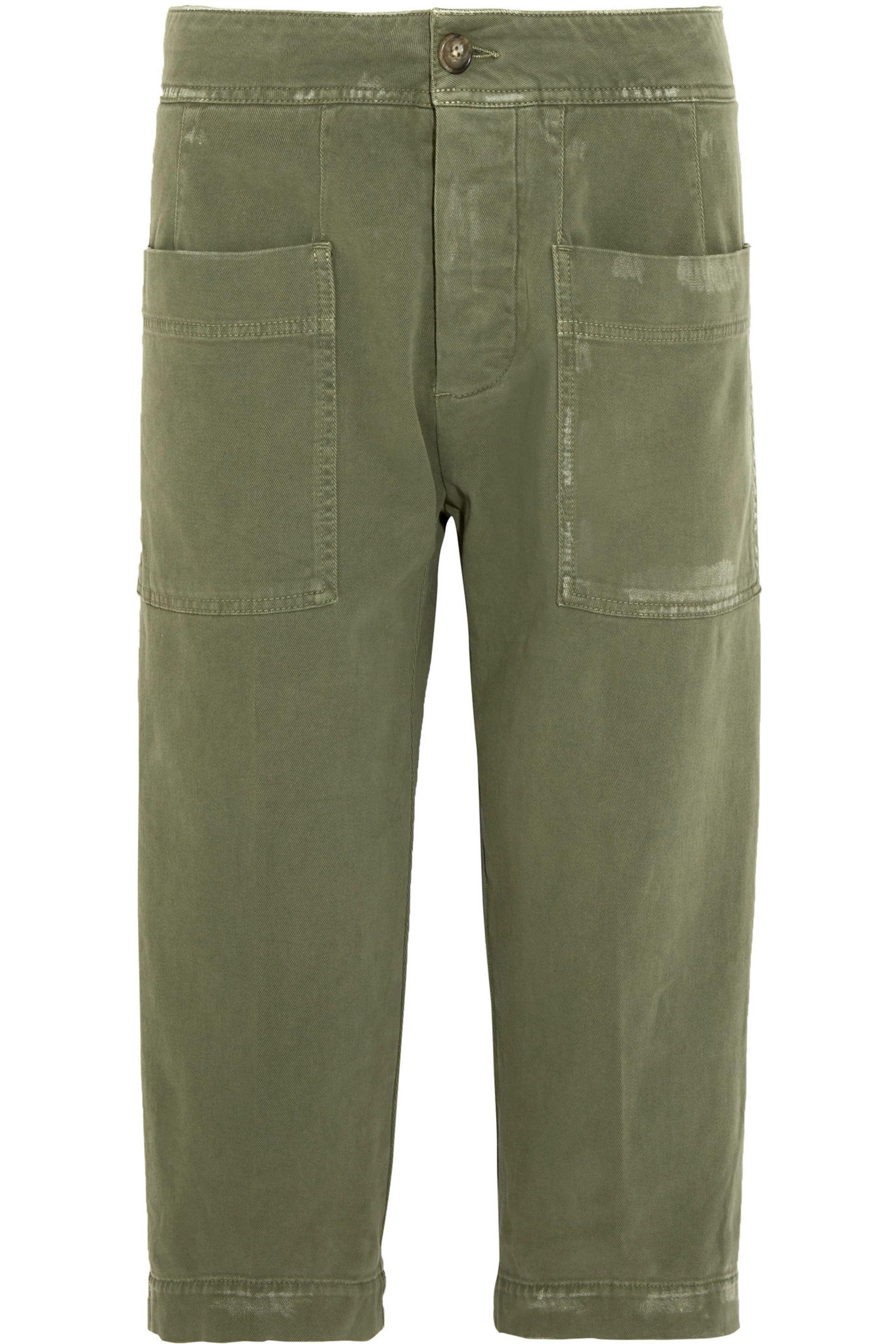 8416bb80 james-perse-Army-green-Cropped-Stretch-cotton-Twill-Pants.jpeg