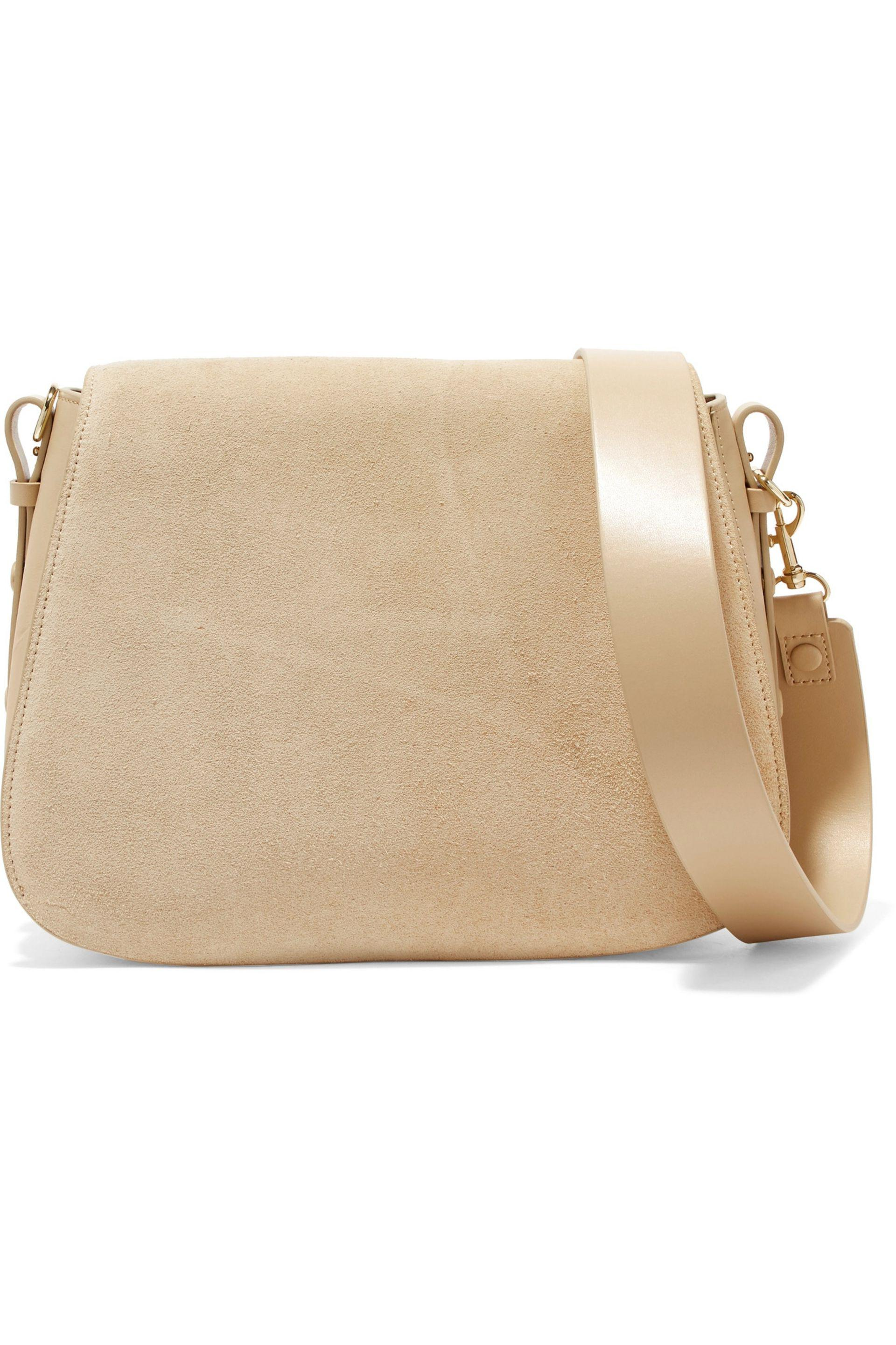 3b85f117f0 Halston Heritage Suede And Leather Shoulder Bag in White - Lyst
